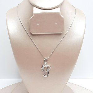BGTY Musical Note Pendant Necklace Sterling Silver
